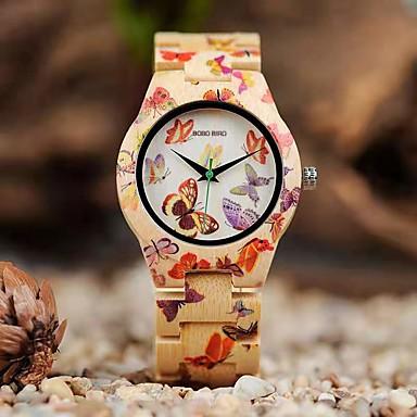 povoljno Ženski satovi-Žene Kvarc Japanski Japanski kvarc Butterly Style Sa stilom Drvo Bež 30 m Casual sat drven Analog Moda Drvo - Drvo Dvije godine Baterija Život