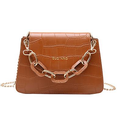cheap Top Handles & Tote Bags-Women's Chain PU Top Handle Bag Solid Color Black / Dark Brown / Wine