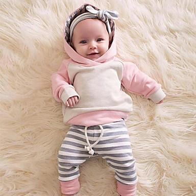 povoljno Odjeća za bebe-Dijete Djevojčice Ležerne prilike / Aktivan Color block / Kolaž Kolaž Dugih rukava Regularna Komplet odjeće Blushing Pink
