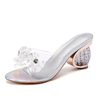 voordelige Damespantoffels & slippers-Dames Slippers & Flip-Flops Blokhak Ronde Teen PU Zomer Zilver