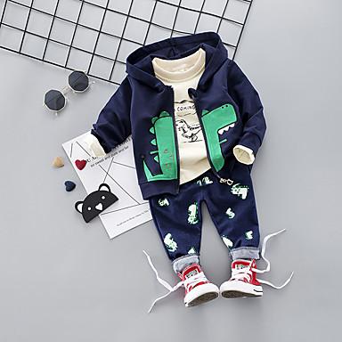 preiswerte Babykleidung-Baby Jungen Freizeit / Grundlegend Druck Langarm Standard Kleidungs Set Orange