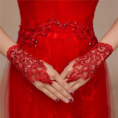 preiswerte Handschuhe für die Party-Spitze Handgelenk-Länge Handschuh Spitze / Handschuhe Mit Randverzierung