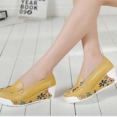 levne Dámské boty s plochou podrážkou-Dámské Bez podpatku Creepers Oblá špička Kůže Léto Bílá / Žlutá / Modrá