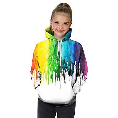 billiga Flickhuvtröjor och sweatshirts-Barn Småbarn Flickor Aktiv Grundläggande Fantastiska djur Geometrisk Färgblock 3D Tryck Långärmad Huvtröja och sweatshirt Regnbåge