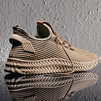 preiswerte Schuhe und Taschen-Herrn Komfort Schuhe Tissage Volant Frühling / Herbst Winter Freizeit Sneakers Walking Rutschfest Gestreift Schwarz / Hellbraun / Grau