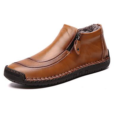 preiswerte Herrenschuhe-Herrn Komfort Schuhe Leder Winter Klassisch / Freizeit Stiefel warm halten Booties / Stiefeletten Schwarz / Braun / Gelb