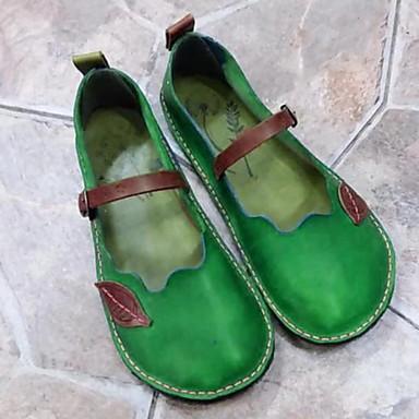 levne Dámské boty s plochou podrážkou-Dámské Bez podpatku Rovná podrážka Oblá špička PU Léto Fialová / Zelená / Červená