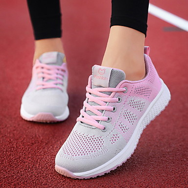 cheap Dusty Rose-Women's Athletic Shoes Flat Heel Round Toe Mesh Running Shoes Spring & Summer Black / Dusty Rose / Fuchsia