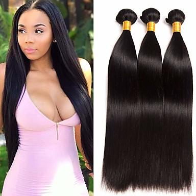 povoljno Ekstenzije za kosu-3 paketa Brazilska kosa Ravan kroj Ljudska kosa Ekstenzije od ljudske kose 8-28 inch Prirodna boja Isprepliće ljudske kose proširenje Najbolja kvaliteta Proširenja ljudske kose / 8A