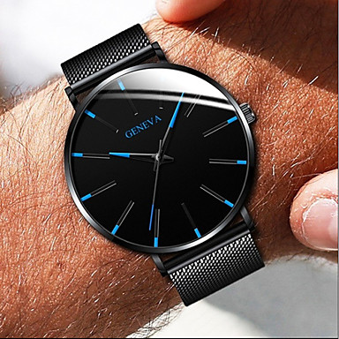 cheap Women's Watches-Geneva Couple's Dress Watch Quartz Formal Style Mesh Stainless Steel Black / Silver / Rose Gold Casual Watch Analog Fashion - Black / White Black / Blue Rose Gold One Year Battery Life