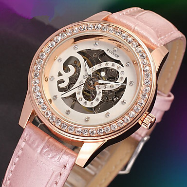 levne Dámské-WINNER Dámské Luxusní hodinky Hodinky s lebkou Náramkové hodinky Mechanické manuální natahování Kůže Černá / Bílá / Růžová 30 m S dutým gravírováním Analogové dámy Třpyt Elegantní - Bílá Černá Růžová