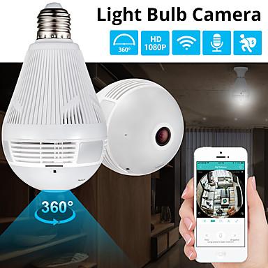 billige Smarte husholdningsapparater-360 graders ledelys 1080p trådløs panoramisk hjemmesikkerhet wifi cctv fisheye pære lampe 2mp ip kamera med mikrofon