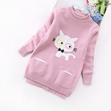 cheap Girls' Sweaters & Cardigans-Kids Girls' Basic Print Long Sleeve Sweater & Cardigan Blushing Pink