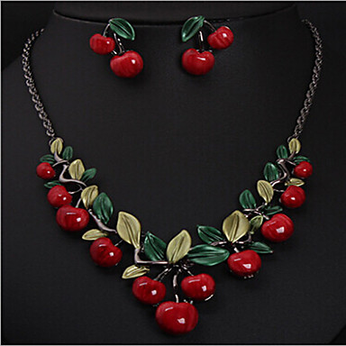 cheap Jewelry Sets-Women's Resin Necklace Geometrical Cherry Stylish Earrings Jewelry Gold For Party 1 set