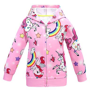 cheap Baby & Kids-Kids Girls' Active Street chic Unicorn Print Regular Jacket & Coat Purple