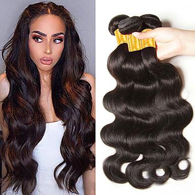 povoljno Ekstenzije od ljudske kose-3 paketa Indijska kosa Wavy Ljudska kosa Ljudske kose plete Bundle kose 8-28 inch Prirodna boja Isprepliće ljudske kose Najbolja kvaliteta Rasprodaja Cool Proširenja ljudske kose / 8A
