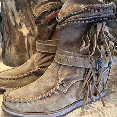 billige Utvalgte tilbud-Dame Støvler Komfort Sko Flat hæl Rund Tå PU Støvletter Høst vinter Svart / Mørkebrun / Grønn