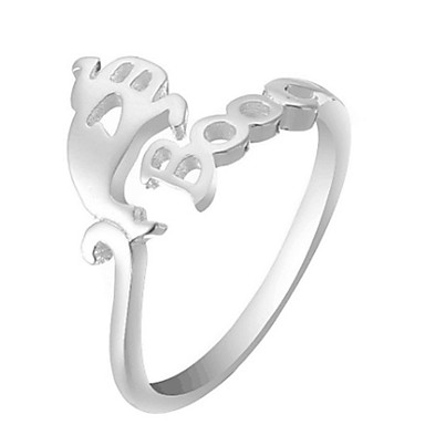 billige Motering-Herre Dame Ring Åpne Ring 1pc Hvit Svart Sølv Legering Annerledes Enkel Vintage trendy Daglig Smykker Vintage Stil Heldig