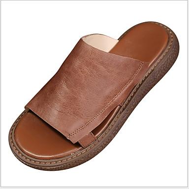 voordelige Damespantoffels & slippers-Dames Slippers & Flip-Flops Platte hak Ronde Teen Leer Korte laarsjes / Enkellaarsjes Zomer Zwart / Geel / Grijs
