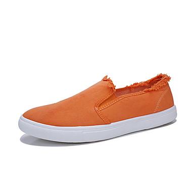 preiswerte Herrenschuhe-Herrn Komfort Schuhe Leinwand Sommer Loafers & Slip-Ons Schwarz / Weiß / Orange