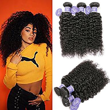 povoljno Ekstenzije od ljudske kose-6 paketića Indijska kosa Kinky Curly Remy kosa 100% Remy kose tkanja Bundle Headpiece Ljudske kose plete Bundle kose 8-28 inch Natural Prirodna boja Isprepliće ljudske kose Modni dizajn Prilagodljiv
