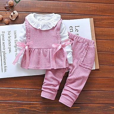 povoljno Odjeća za bebe-Dijete Djevojčice Ulični šik Color block Dugih rukava Regularna Komplet odjeće Blushing Pink