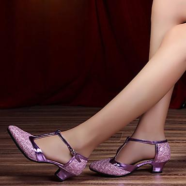 billige Utvalgte tilbud-Dame Dansesko Lær Moderne sko Høye hæler Tykk hæl Kan spesialtilpasses Svart / Sølvgrå / Lilla / Ytelse