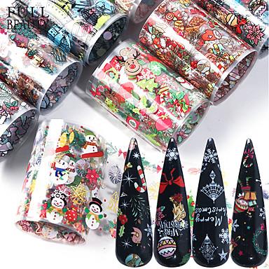 preiswerte Aufkleber für Nägel-Weihnachtsdekorationen 10pcs für Nägel mischen buntes Übergangsnagel-Folienaufkleber-Schneeblumen-Elchgeschenk Sankt-klebendes Papier