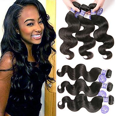 povoljno Ekstenzije od ljudske kose-6 paketića Malezijska kosa Tijelo Wave Remy kosa 100% Remy kose tkanja Bundle Headpiece Ljudske kose plete Bundle kose 8-28 inch Natural Prirodna boja Isprepliće ljudske kose Žene Jednostavan