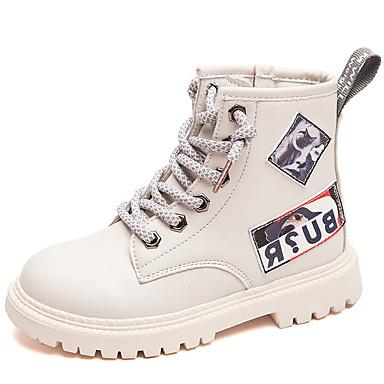 preiswerte Schuhe für Kinder-Mädchen Komfort PU Stiefel Kleine Kinder (4-7 Jahre) / Große Kinder (ab 7 Jahren) Schwarz / Weiß / Gelb Herbst / Winter