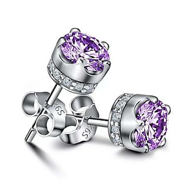 levne Dámské šperky-přírodní fialové ametystové náušnice koruna křišťálově svatební party šperky náušnice