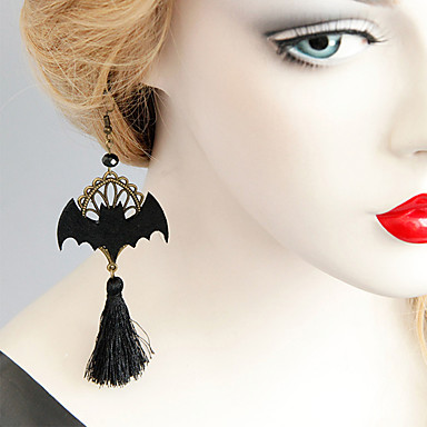 povoljno Modne naušnice-Žene Viseće naušnice Naušnica Rese Šišmiš Vintage Crtići pomodan Moda Naušnice Jewelry Crn Za Halloween Klub 1 par