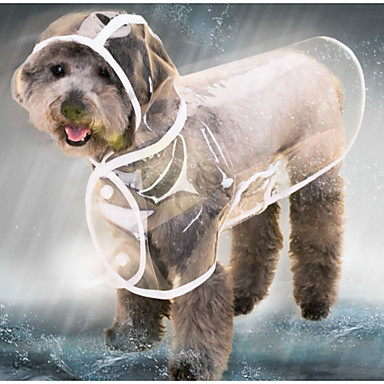cheap Dog Clothes-Cat Dog Rain Coat Jacket Raincoat Solid Colored Transparent Waterproof Cool Outdoor Winter Dog Clothes White Black Purple Costume Baby Small Dog Plastic XS S M L XL XXL