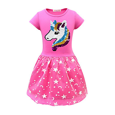 cheap Top Sellers-Kids Girls' Active Unicorn Geometric Print Short Sleeve Midi Dress Blushing Pink
