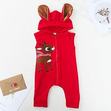 preiswerte Babykleidung-Baby Mädchen Grundlegend Druck / Weihnachten Ärmellos Baumwolle Einzelteil Rote