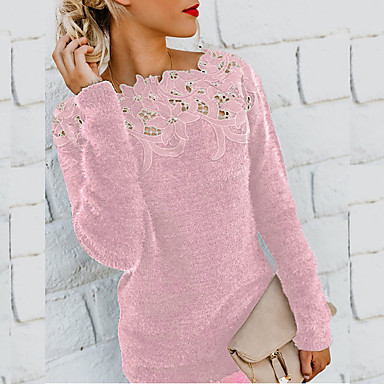 cheap New Arrivals-Women's Solid Colored Long Sleeve Pullover Sweater Jumper, Round Neck Black / Wine / Purple S / M / L