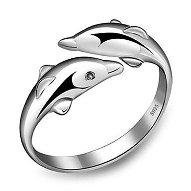billige Motering-Dame Ring Åpne Ring 1pc Sølv Kobber Sirkelformet Grunnleggende Koreansk Mote Gave Daglig Smykker Delfin Dyr Smuk