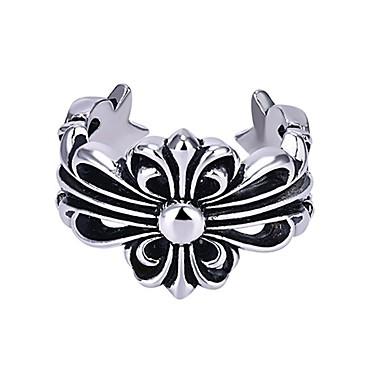 voordelige Herensieraden-Heren Dames Ring 1pc Zilver Koper Cirkelvormig Standaard Koreaans Modieus Lahja Feestdagen Sieraden Kruis Cool
