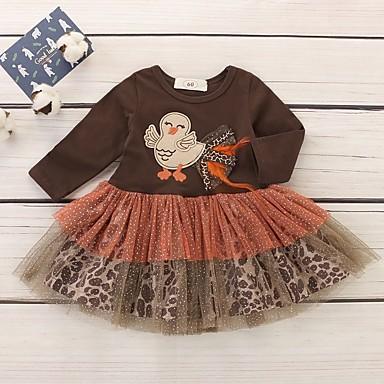 povoljno Odjeća za bebe-Dijete Djevojčice Osnovni Print Dugih rukava Haljina Braon
