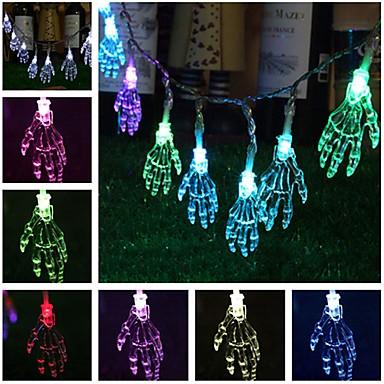 φανταχτερό χέρι αποκριές φώτα σειρά 1.2m 10 οδήγησε χέρι σκελετό αποκριές φώτα διακόσμηση 2 τρόποι φωτισμού μπαταρία τροφοδοτείται για πάρτι εσωτερικό υπαίθριο