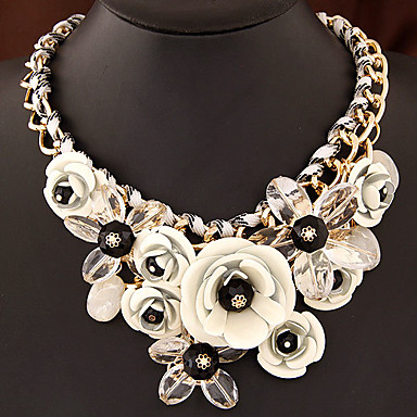 cheap Necklaces-Women's Multicolor Statement Necklace Bib necklace Braided Bib Flower Rainbow Ladies Luxury Chunky Color Synthetic Gemstones Resin Plastic Rainbow White Black Red Fuchsia Necklace Jewelry 1pc For