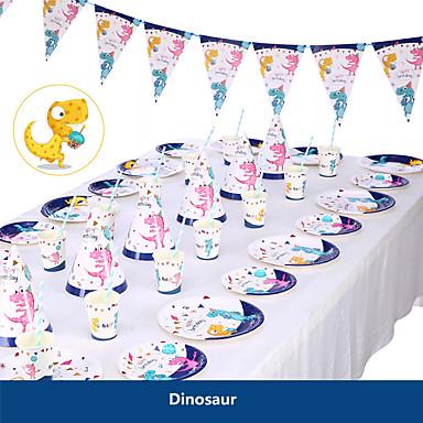 levne Party doplňky-baby sprcha narozeninový večírek dinosaurus téma party dekorace dodávky jednorožec papír pohár talíř nádobí nádobí