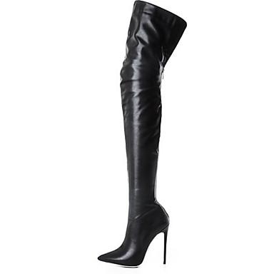voordelige Dameslaarzen-Dames Laarzen Naaldhak Gepuntte Teen PU Over de knie laarzen Herfst winter Zwart