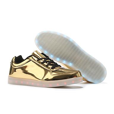 preiswerte Damenschuhe-Damen Sneakers Flacher Absatz Runde Zehe Kunststoff Herbst Winter Schwarz / Weiß / Gold