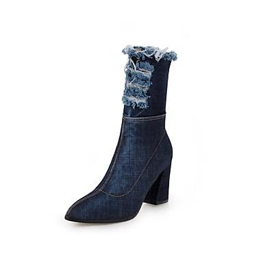 voordelige Dameslaarzen-Dames Laarzen Blokhak Gepuntte Teen Denim Kuitlaarzen Studentikoos Herfst winter Zwart / Lichtblauw / Donkerblauw