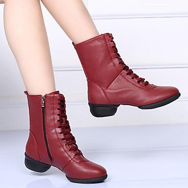 cheap Dance Boots-Women's Dance Shoes Microfiber Dance Boots Boots Flat Heel Black / Red