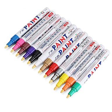 billige Billakkpenn-12stk farge dekk permanent malingspenn dekk metall utendørs markering blekkmarkør trendy