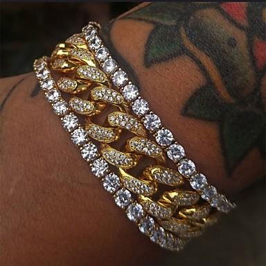 levne Pánské šperky-Pánské Klasické Náramky Náušnice / Náramek Tenisový řetězec Šťastný Vintage Moderní Módní Umělé diamanty Náramek šperky Zlatá Pro Denní