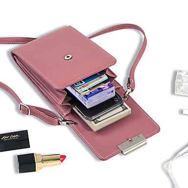 preiswerte Taschen für Handys-Damen Reißverschluss PU Handy-Beutel Volltonfarbe Schwarz / Wein / Himmelblau