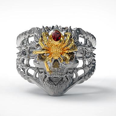 levne Pánské šperky-Pánské Prsten 1ks Zlatá Stříbrná Umělé diamanty Slitina nepravidelný Vintage Punk Moderní Denní Šperky Retro styl Lebka Pavouci